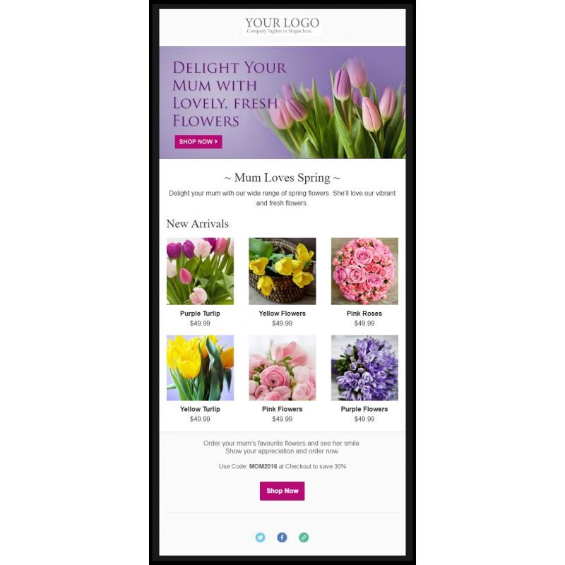 email marketing template florist. Black Bedroom Furniture Sets. Home Design Ideas