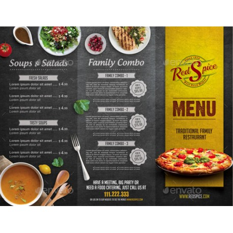 menu brochure template free - a4 trifold cafe menu