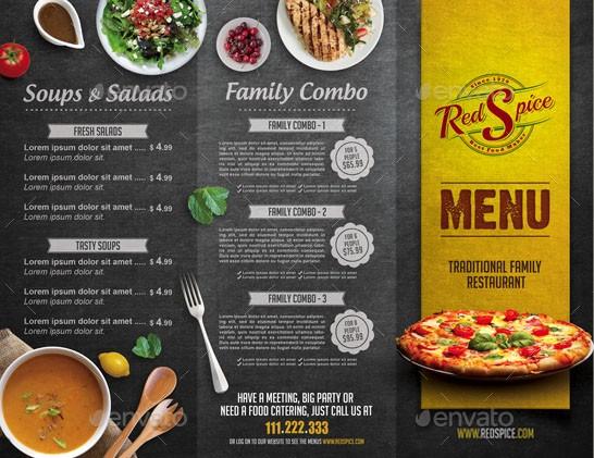 A4 Trifold Cafe Menu – A La Carte Menu Template